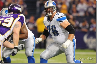 26 Sept 2010: Detroit Lions left tackle Jeff Backus looks to pick up his block against the Minnesota Vikings' Jared Allen at Mall of America Field in Minneapolis, Minn.