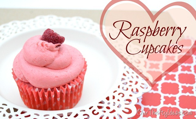 Our Thrifty Ideas- Make these easy Raspberry cupcakes from a mix and frozen raspberries. Super yummy and pretty at the same time.