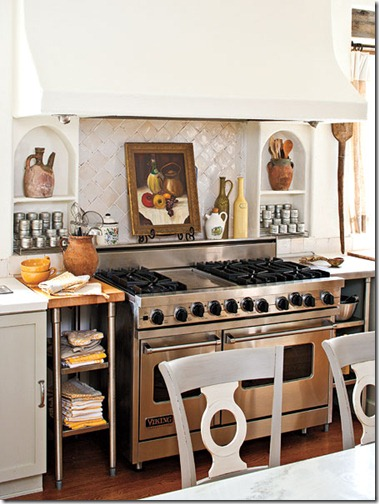 southern living euro style kitchen range area