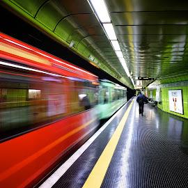 Subway station Bonn by Joerg Kampers - Transportation Trains ( fuji x, subway, moving, color, train )