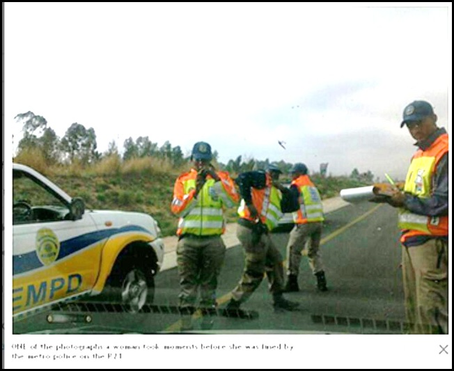 KEMPTON PARK METRO COPS FINE FEMALE MOTORISTS WHO ASKED FOR THEIR HELP SEPT22 2011