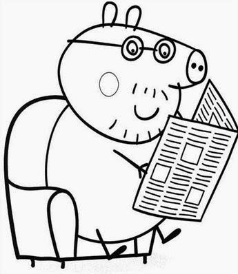 papai da peppa piga lendo jornal