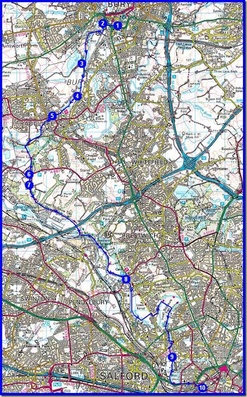 Our route - approx 20 km (12.5 miles) with 100 metres ascent, in 5 hours (moving time about 4 hours)