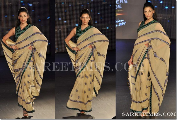 Reynu_Tandon_Tan_Designer_Saree