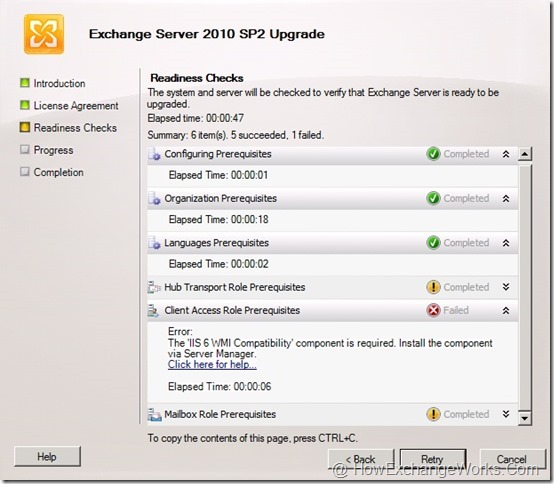 IIS 6 WMI Required for Exch 2010 SP2 Upgrade