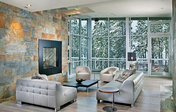 Ultra sala de estar con sofá moderno con estilo