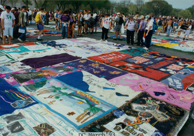 The Names Project AIDS Memorial Quilt laid out on the National Mall at the March on Washington for Lesbian, Gay, and Bi Equal Rights and Liberation. April 25, 1993.