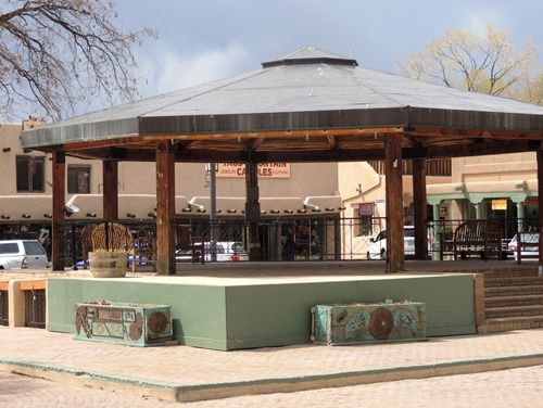 The Taos Plaza stage area for community gatherings