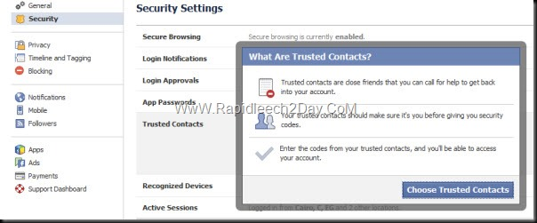 Facebook Security Settings - Trusted Contacts