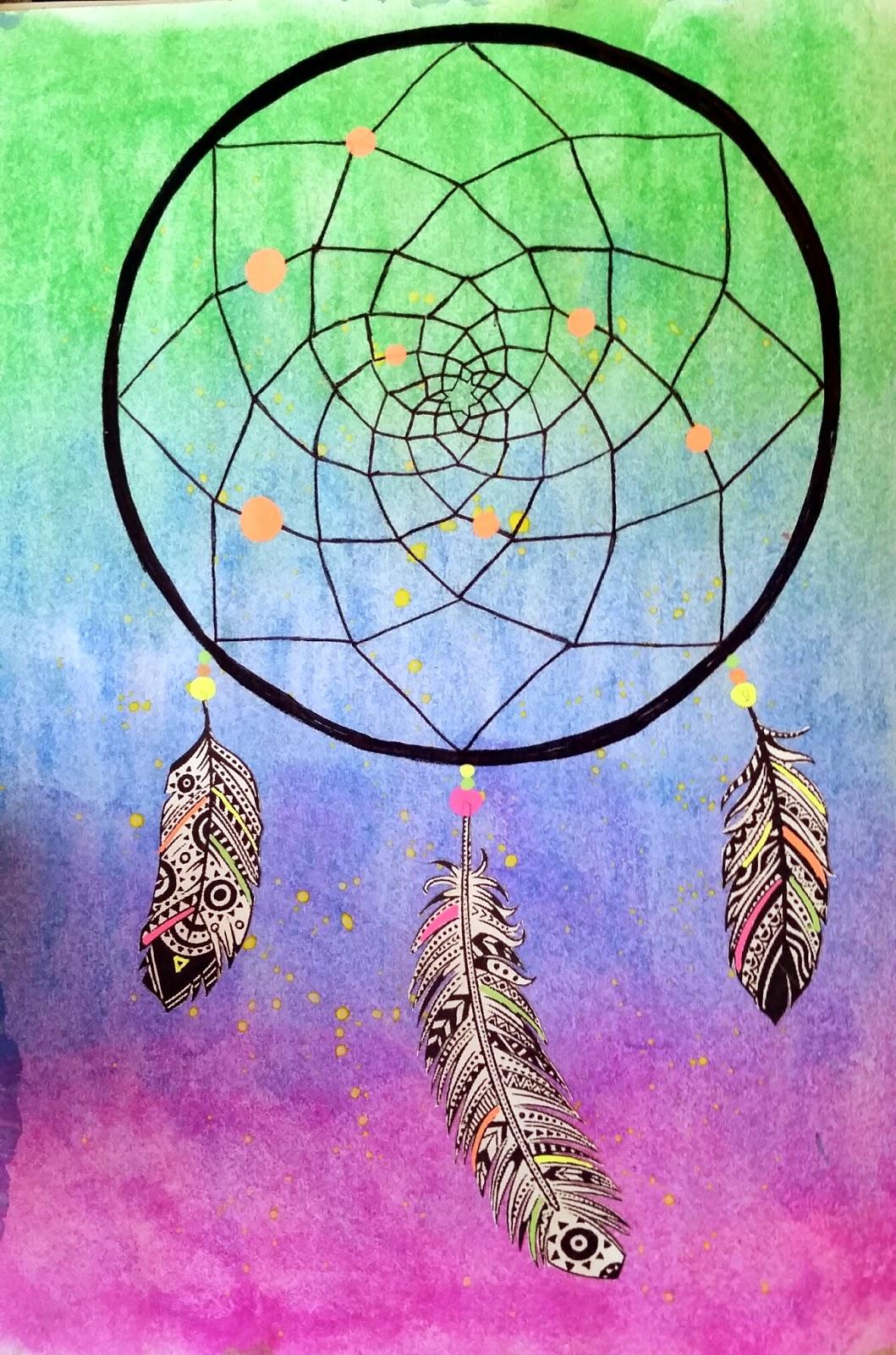 Color art dreamcatcher - Dream Catcher Art Journal Page