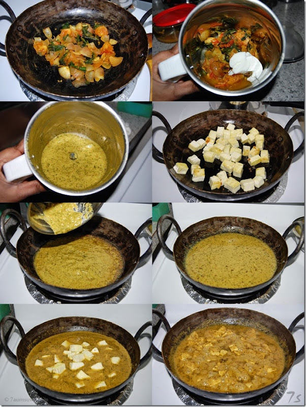 Paneer green gravy process