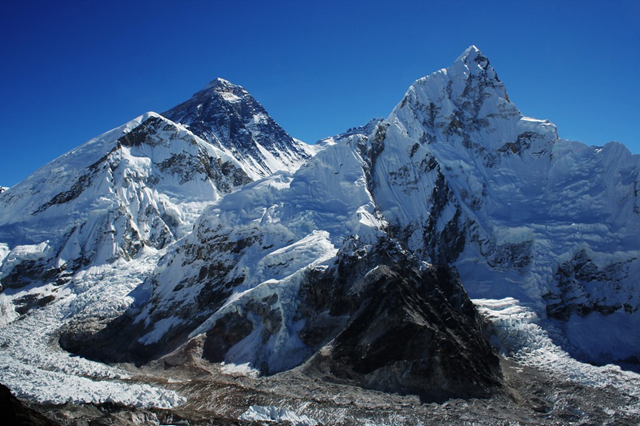 A new study finds a decline in snow and ice on Mount Everest (second peak from left) and the national park surrounding it. Glaciers in the Mount Everest region have shrunk by 13 percent in the last 50 years and the snowline has shifted upward by 180 meters (590 feet). Photo: Pavel Novak