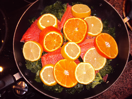 Salmon with Orange and Lemon Over Greens; Kris Kraft