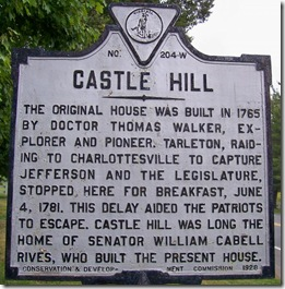 Castle Hill - W-204 in Albemarle County, VA in Jack Jouett marker series.