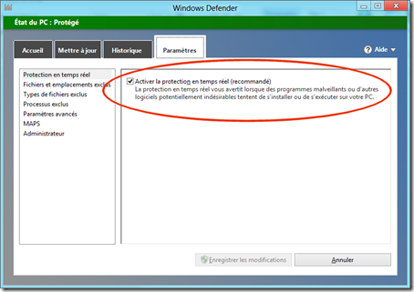 Paramtres Windows Defender Metro