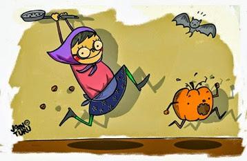 Stop Halloween - Castanyera empaitant carbassa - Joan Turu