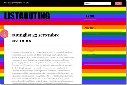 """La home del sito """"Listaouting"""""""