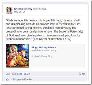 Krishna's Mercy Facebook page