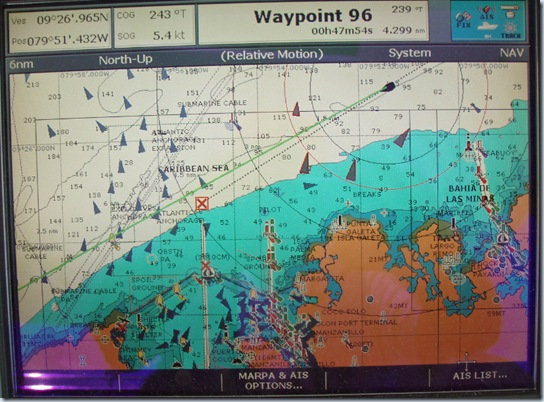 AIS marks on Charplotter as we enter Panama Canal