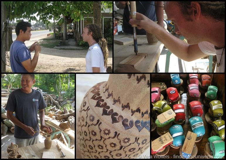 Collage Trang Taro wood workshop Thailand