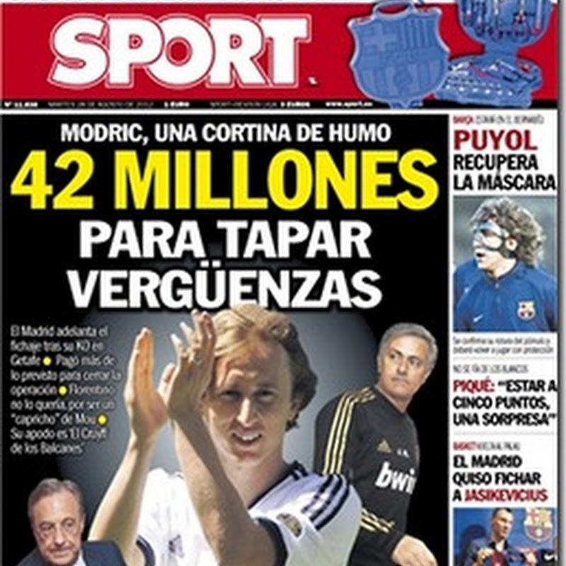 Portada de Sport para este Martes: 42 millones para tapar vergüenzas