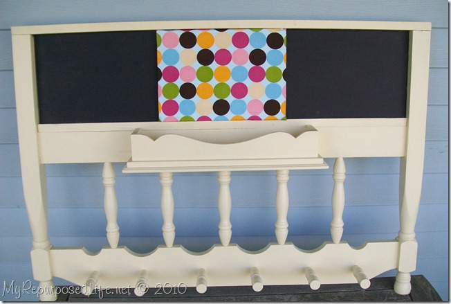upcyled headboard coat rack chalkboard