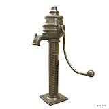 Dekoracyjna, żeliwna pompa w staroświeckim stylu.