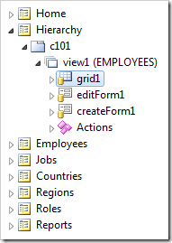 View 'grid1' of EMPLOYEES controller.