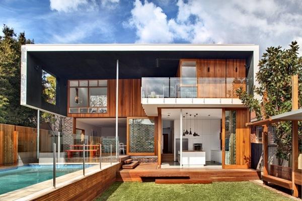 Fachadas casa en madera natural
