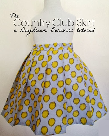 FREE Pattern and Tutorial from Daydream Believers: The Country Club Skirt. Sizes 2t -8! Easy to follow DIY guide for creating a very full, pleated, twirl skirt. www.daydreambelieversdesigns.com