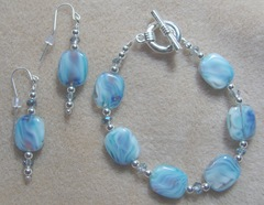 bracelet and earrings blue purple silver