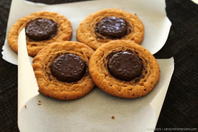 Peanut Butter Chocolate Button cookies via homework (2)