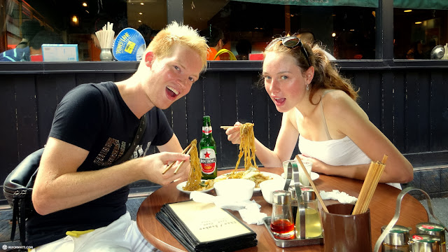 Matt & Lacey having an Indonesian dinner in Harajuku in Harajuku, Tokyo, Japan