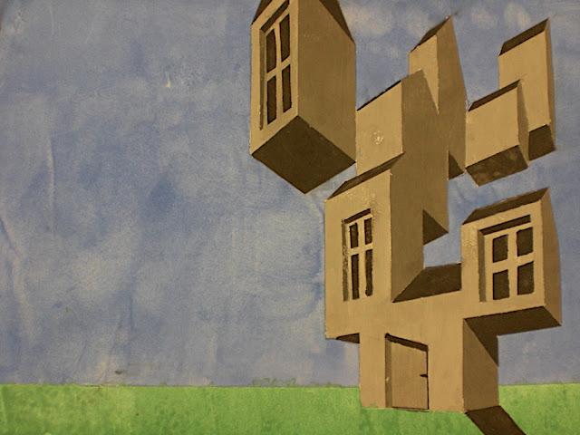 Schrägperspektive, Perspektive mit zwei Fluchtpunkten nach einem Bild von René Magritte, Deckfarbe, Jg. 8