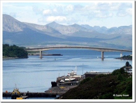 The port and ferry service below the Skye bridge.
