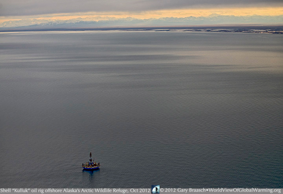 Royal Dutch Shell drilling rig off the coast of the Arctic National Wildlife Refuge. © Gary Braasch / worldviewofglobalwarming.org