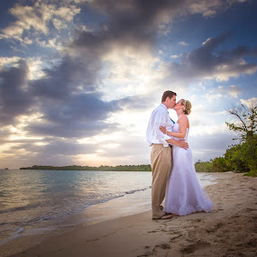 Beach Bliss by Caitlin Lisa - Wedding Bride & Groom ( kiss, jamaica, wedding, beach, bride and groom, beach wedding )