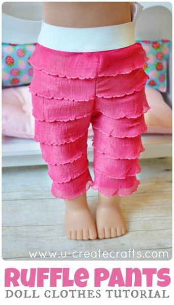 Easy American Doll Ruffle Pants Tutorial at u-createcrafts.com
