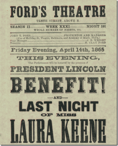 Ford's Theatre poster - April 14, 1865