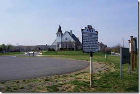 Opequon Presbyterian Church behind the state marker A-9
