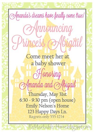 princess shower invitation blog copy