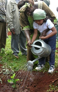Wangari Maathai plants a tree with flimmakers daugther in Aberdare Mountains, Kenya.