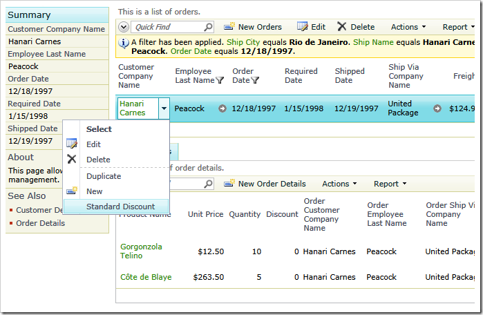 Discounting order line items with 'SQL' action