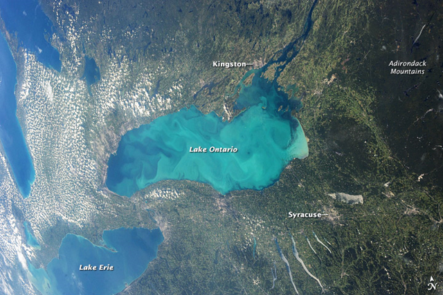 Late summer plankton bloom covers Lake Ontario, one of North America's Great Lakes. Microscopic cyanobacteria, or blue-green algae, have reached such large concentrations and color the water to such an extent that the change is visible from orbit. Photo: ISS Expedition 36 crew / NASA