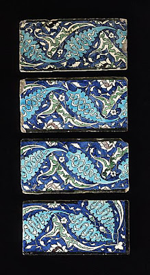 Border Tiles | Origin: Syria | Period:  second half of 16th century | Collection: The Madina Collection of Islamic Art, gift of Camilla Chandler Frost (M.2002.1.157a-d) | Type: Ceramic; Architectural element, Fritware, underglaze-painted, Height: 5 13/16 in. (14.76 cm); Depth: 1 in. (2.54 cm); Width: 11 7/16 in. (29.05 cm)