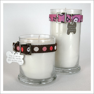 Maggie's Light- a stunning line of customizable candles for animal lovers- was inspired by a shelter dog who taught one very fortunate couple how to love again after loss. (www.nellidesigns.com)
