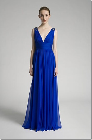 Marchesa chiffon gathered waist