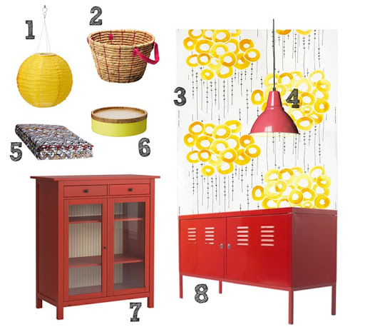 Foto Pendant Light (red, 10u201d) - $19.99 5. Lyndby Throw (zigzag) - $9.99 6.  Valkand bowl and dish (yellow)