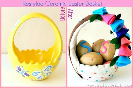 Restyled Ceramic Easter Basket Before After