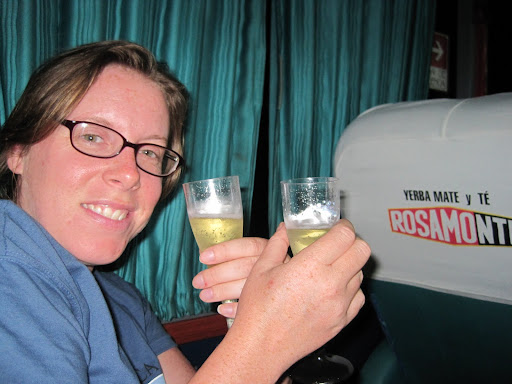 Complimentary champagne on the overnight bus from Concordia to Puerto Iguazu, Argentina.